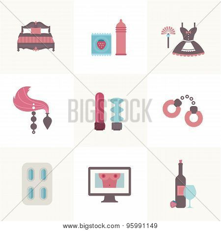 sex related set of flat icons