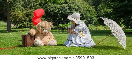 Little girl with his best friend talking together about problems.