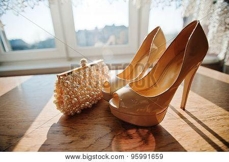 Cream Bridal Shoes And Handbag