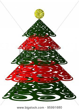 Stylized Christmas tree with red ornaments for wish