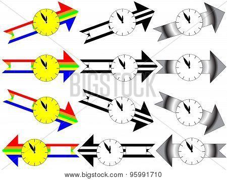 Arrow clock five minutes to twelve