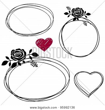 Hand Drawn Scribble Circles with rose vector design elements