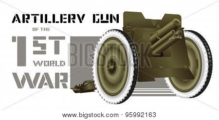 Drawing artillery gun of World War I
