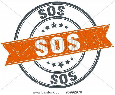 Sos Round Orange Grungy Vintage Isolated Stamp
