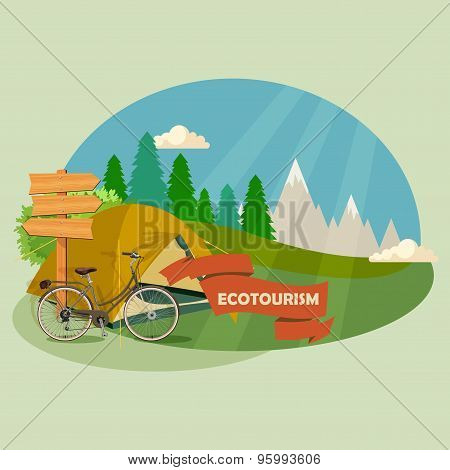 Vector background with theme of hiking and camping