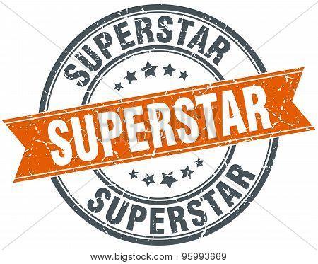 Superstar Round Orange Grungy Vintage Isolated Stamp