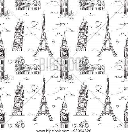 Hand drawn seamless pattern with sights of Europe.