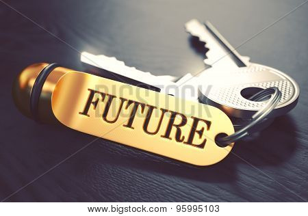 Future Concept. Keys with Golden Keyring.