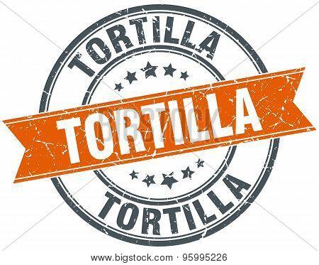 Tortilla Round Orange Grungy Vintage Isolated Stamp