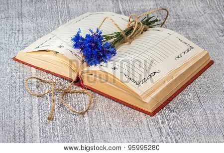 Open Book With A Bunch Of Blue Cornflowers