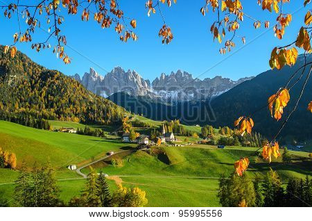 Dolomites Mountain Village In Autumn