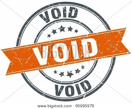 Void Round Orange Grungy Vintage Isolated Stamp