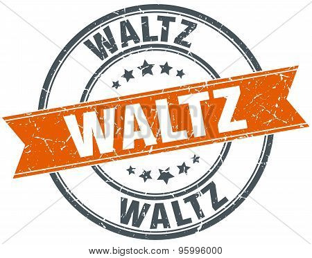 Waltz Round Orange Grungy Vintage Isolated Stamp