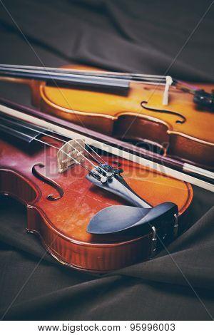 Classic music violin vintage close up