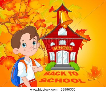 Illustration of schoolboy goes to school