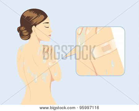 Woman stick waterproof plaster while bath