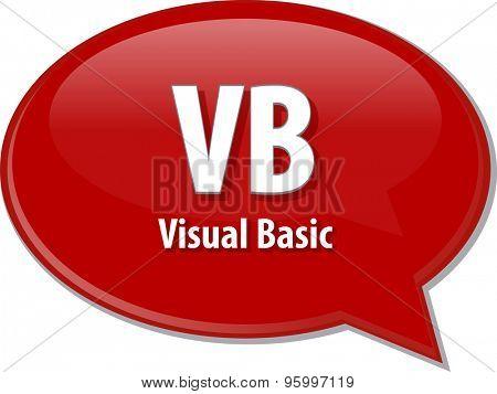 Speech bubble illustration of information technology acronym abbreviation term definition VB Visual Basic
