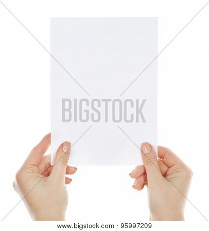 Hands holding blank card isolated on white