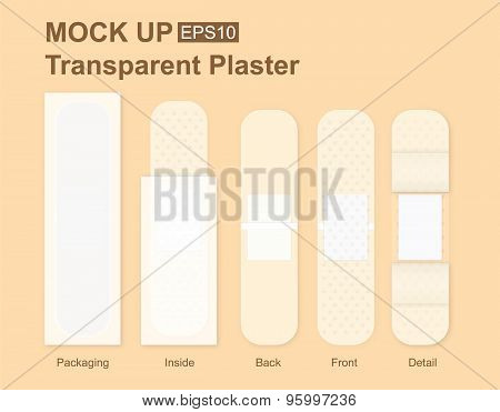 Transparency Bandage Plaster Packaging Mock up
