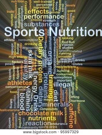 Background concept wordcloud illustration of sport nutrition glowing light