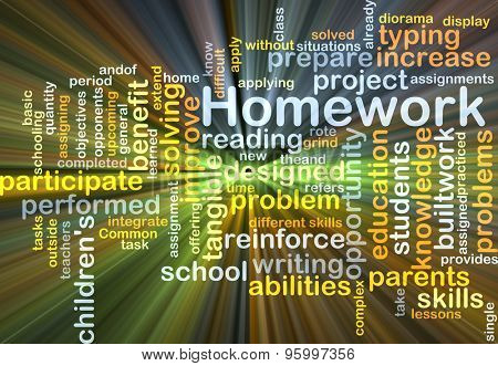 Background concept wordcloud illustration of homework glowing light