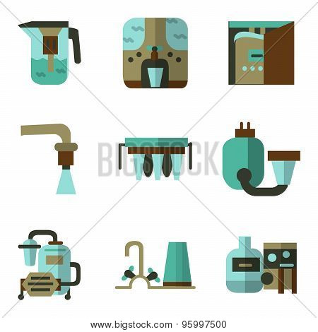 Colored flat vector icons for water filters