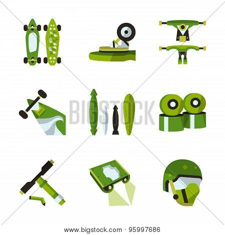 Green flat vector icons for longboard accessories