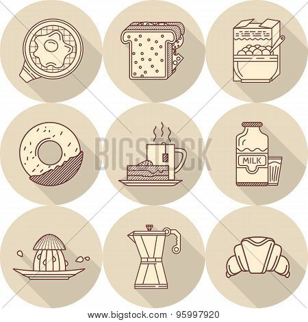 Flat line vector icons for tasty breakfast