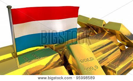 Luxembourg economy concept with gold bullion