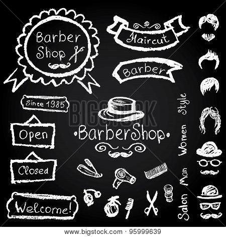 Set Of Design  Barbershop Hipster Hairdresser Elements Vector Ch