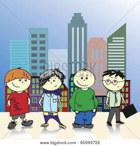 Four Teenage Boy On A Background Of The City, Vector Illustratio