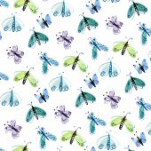 foto of moth  - Pattern of blue and green moths painted in watercolor - JPG