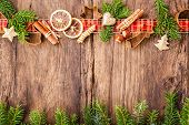 foto of christmas spices  - Baking concept background with spices and utensils for Christmas cookies - JPG