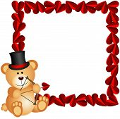 foto of cupid  - Scalable vectorial image representing a cupid teddy bear with heart frame - JPG