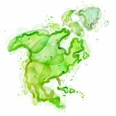 picture of continent  - Outline sketch of continent map painted colors - JPG