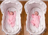 pic of bassinet  - A combined image of a newborn baby stretches and yawns while laying in her bassinet - JPG