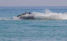 stock photo of waverunner  - Young Man on Jet Ski - JPG
