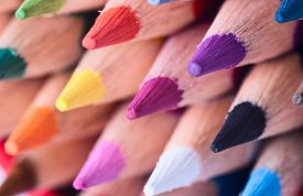 stock photo of colore  - Macro shot of colour colorful pencils  - JPG