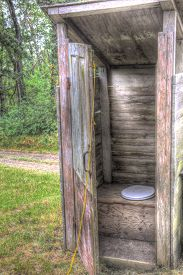 image of outhouse  - old wooden outhouse with open door in woods - JPG