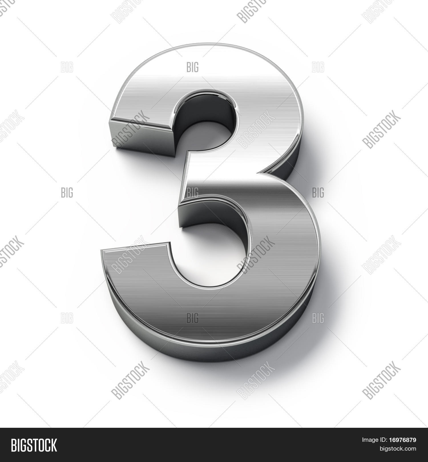 3d metal numbers number 3 stock photo stock images for Large 3d numbers