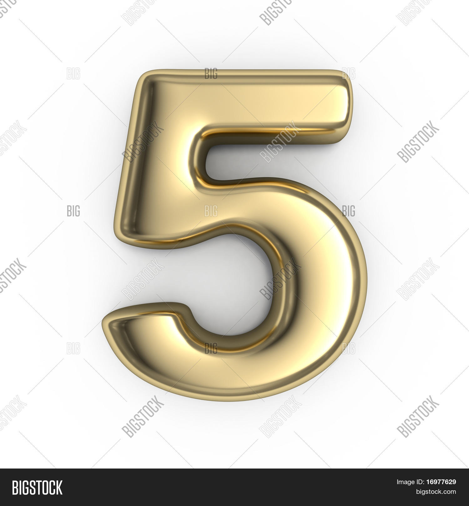 3d gold numbers number 5 image photo bigstock for Large 3d numbers