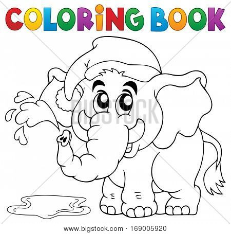 Coloring book elephant with hat - eps10 vector illustration.