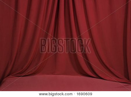 Horozontal Red Draped Velvet Backdrop Background