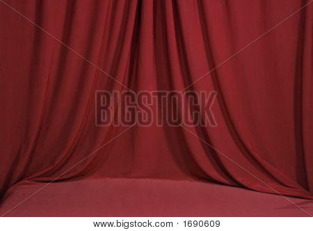 Horozontal Red Draped Velvet Backdrop Background