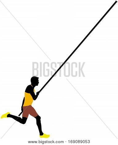 competition pole vault male athlete colored silhouette
