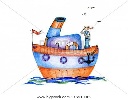 baby drawing steamship on white background