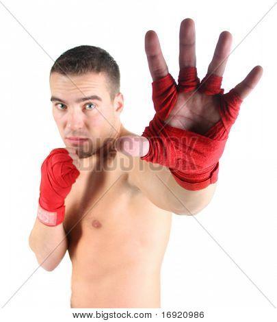 portrait of athletic boxer (hand in focus)