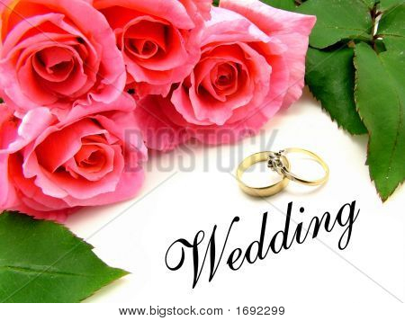 Bunch Of Pink Roses Wedding And Engagement Rings