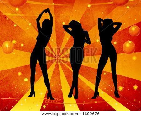 Girl Dancing On A Retro Background