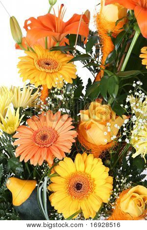 bunch of beautiful orange and yellow flowers